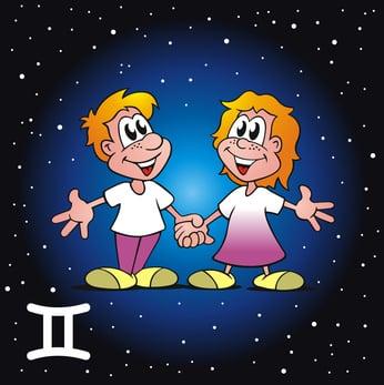 Zeichnung des Sternzeichens Zwillinge im Comic-Stil