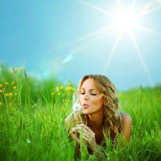 Produktbild für Geburtshoroskop: Frau auf einer Blumenwiese liegend mit einer Pusteblume in den Händen